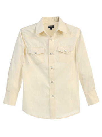Gioberti Boy's Western Long Sleeve Shirt With Pearl Snaps, Ivory