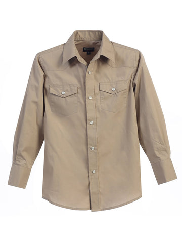 Gioberti Boy's Western Long Sleeve Shirt With Pearl Snaps, Khaki