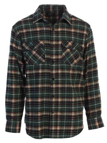 Gioberti Men's Long Sleeve Plaid Flannel Shirt, Green / Khaki / Ivory Highlight