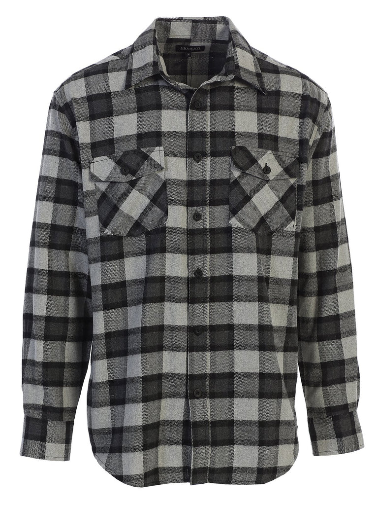 Mens Long Sleeve Flannel Plaid Checked Double Pocketed Shirt