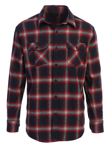 Gioberti Men's Long Sleeve Plaid Flannel Shirt, Red / Navy / Gray