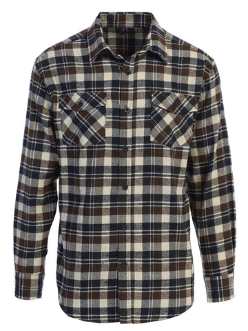 Gioberti Men's Long Sleeve Plaid Flannel Shirt, Olive / Navy / Ivory