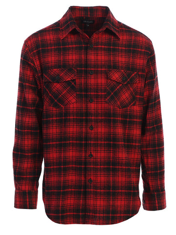 Gioberti Men's Long Sleeve Plaid Flannel Shirt, Red / Black Checkered