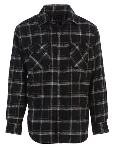 Gioberti Men's Long Sleeve Plaid Flannel Shirt, Black / Charcoal