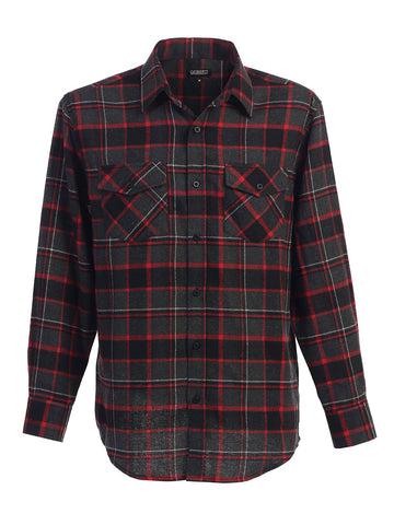 Gioberti Men's Long Sleeve Plaid Flannel Shirt, Charcoal / Red