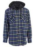 Mens Casual long-sleeve Removable Hood Plaid Checked Flannel Button Down