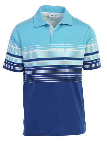 Gioberti Mens Modern Fit Striped Polo Shirt with Pocket