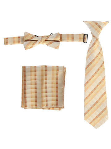 Gioberti Boys' Plaid Clip-On Tie, Bow Tie, and Pocket Square Set