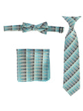 Boys' Plaid Clip-On Tie, Bow Tie, and Pocket Square Set
