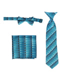 Boys' Plaid Zipper Neck Tie, Bow Tie, and Pocket Square Set