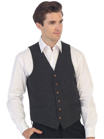 Gioberti Men's 6 Button Custom Formal Tweed Vest, Herringbone Charcoal