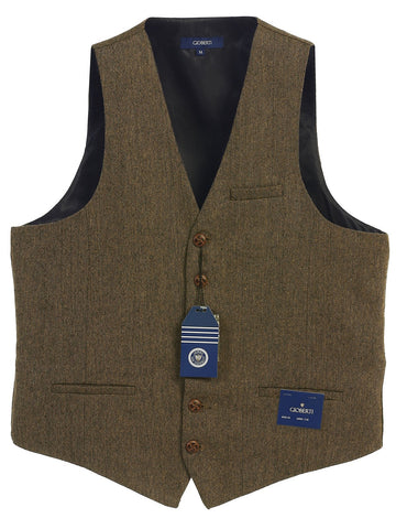 Gioberti Men's 6 Button Custom Formal Tweed Vest, Barleycorn Brown