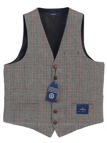 Gioberti Men's 6 Button Custom Formal Tweed Vest, Checkered Black/Red