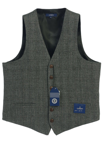 Gioberti Men's 6 Button Custom Formal Tweed Vest, Checkered Charcoal/Tan