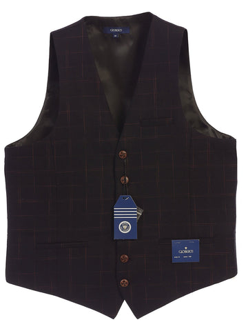 Gioberti Men's 6 Button Custom Formal Tweed Vest, Gridwork Dark Purple
