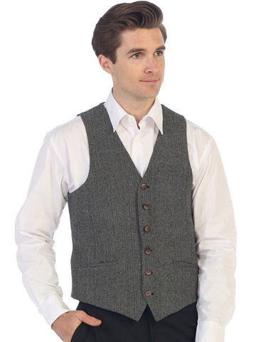 Gioberti Men's 6 Button Custom Formal Tweed Vest, Herringbone Gray