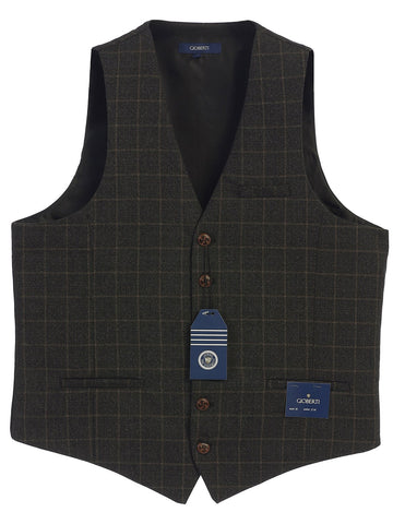Gioberti Men's 6 Button Custom Formal Tweed Vest, Gridwork Charcoal