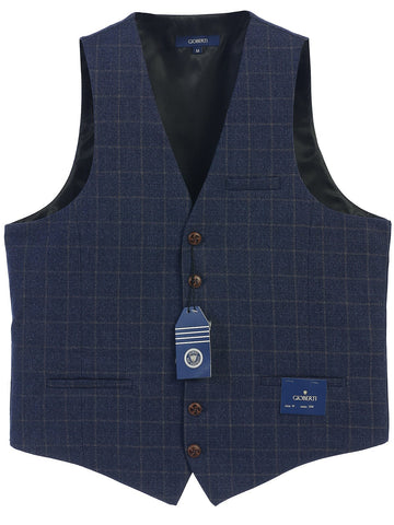 Gioberti Men's 6 Button Custom Formal Tweed Vest, Gridwork Blue