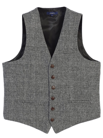 Gioberti Men's 6 Button Custom Formal Tweed Vest, Check Plaid Gray