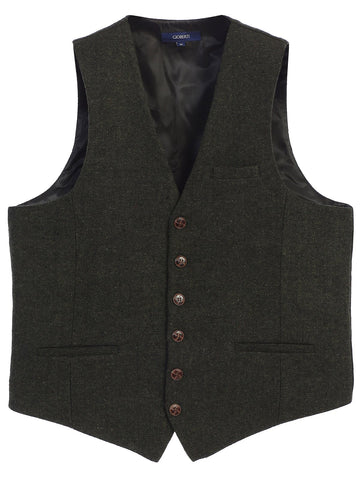 Gioberti Men's 6 Button Custom Formal Tweed Vest, Herringbone Olive