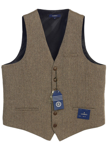 Gioberti Men's 6 Button Custom Formal Tweed Vest, Herringbone Khaki