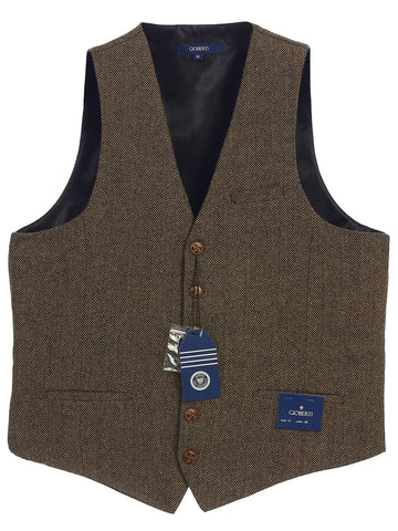 Gioberti Men's 6 Button Custom Formal Tweed Vest, Herringbone Brown