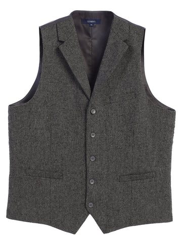 Gioberti Men's 5 Button Tailored Collar Formal Tweed Suit Vest, Gray