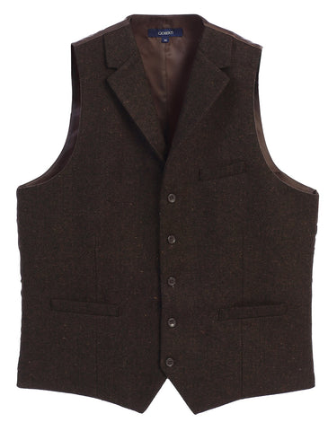 Gioberti Men's 5 Button Tailored Collar Formal Tweed Suit Vest, Brown