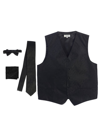Gioberti Men's 4 Piece Formal Paisley Vest Set