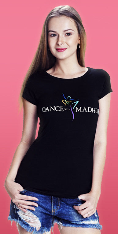 Dance With Madhuri - Girls Black Cotton/Lycra T-Shirt