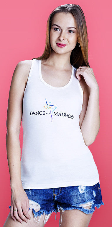 Dance With Madhuri - Girls Cotton/Lycra White Racer-Back T-shirt