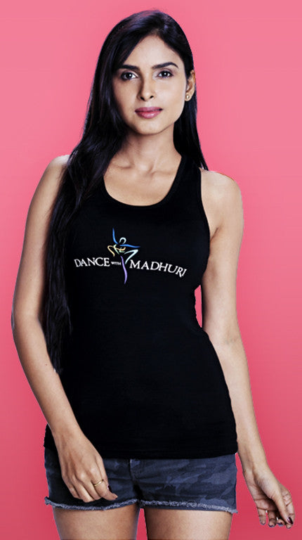 Dance With Madhuri - Girls Black Racer-Back T-shirt