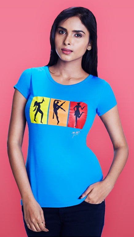Strike a pose! - Girls Blue T-Shirt