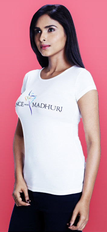 Dance With Madhuri - Girls White Cotton/Lycra T-Shirt