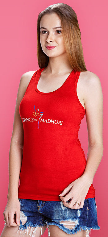 Dance With Madhuri - Girls Red Racer-Back T-shirt