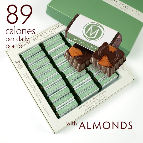 DARK SECRET chocolate with Almonds - 30 Day Box