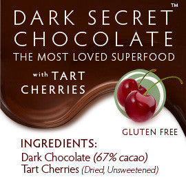 DARK SECRET chocolate with Tart Cherries - 30 Day Box ingredients