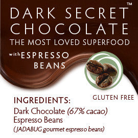 DARK SECRET chocolate with Espresso Beans - 30 Day Box ingredients