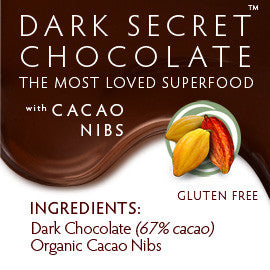 DARK SECRET chocolate with Cacao Nibs - 30 Day Box ingredients