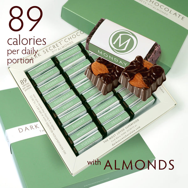 DARK SECRET chocolate with Almonds - 3 30 Day Boxes
