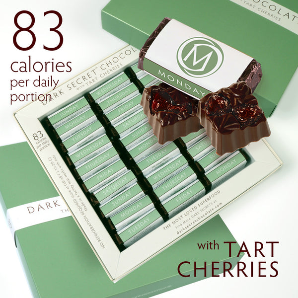 DARK SECRET chocolate with Tart Cherries 3 / 30 Day Boxes