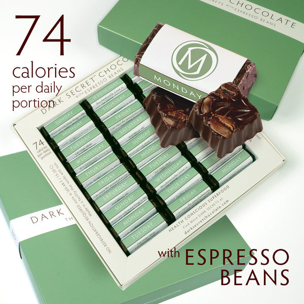 DARK SECRET chocolate with Espresso Beans 3 / 30 Day Boxes