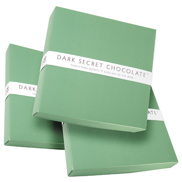 DARK SECRET chocolate with 67% Cacao - 3 30 day boxes - Artisan chocolate daily nibble