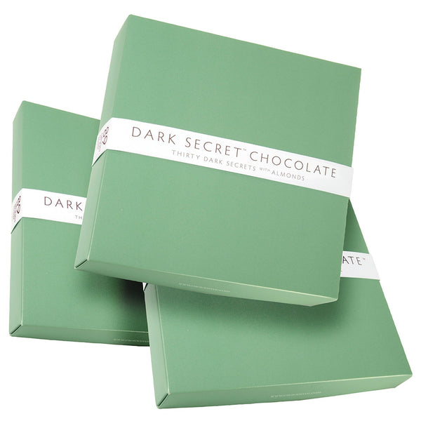 DARK SECRET chocolate with Almonds - Three 30 Day Boxes