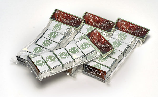 DARK SECRET® chocolate sampler - 5 varieties - 4 packages