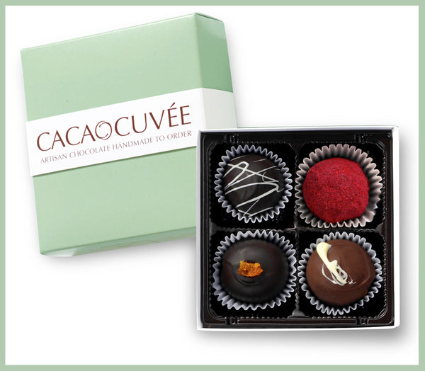 Chocolate Truffles, four piece box making perfect gift or sample for tasting our favorite fresh chocolate truffles.