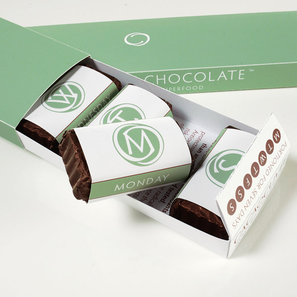 DARK SECRET chocolate with Almonds - Two 7 day boxes first box open
