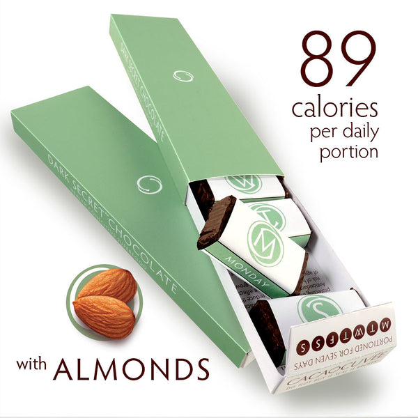 DARK SECRET chocolate with Almonds - Two 7 day boxes open