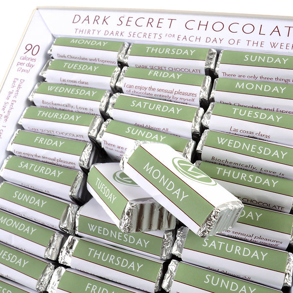 DARK SECRET chocolate with Cacao Nibs - 30 Day Box open
