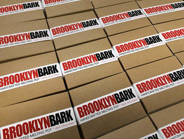 Brooklyn Bark - HANDCRAFTED MELTING POT of dark chocolate with assorted nuts and fruits, flax, sunflower, chia seeds coconut, spices and grey sea salt. Packaging
